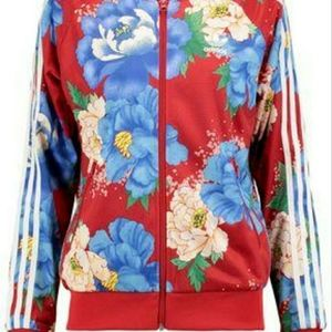 Pre-owned women red striped floral print bomber ja